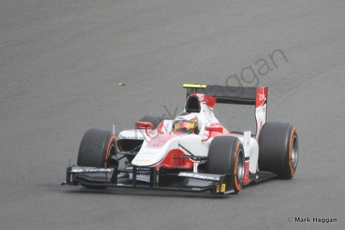Stoffel Vandoorne in the ART Grand Prix car in the second GP2 race at the 2014 British Grand Prix