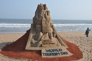 sand sculpture on the eve of World Tourism Day