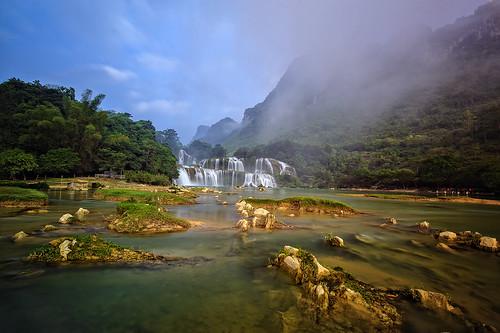 travel landscape waterfall vietnam bangioc