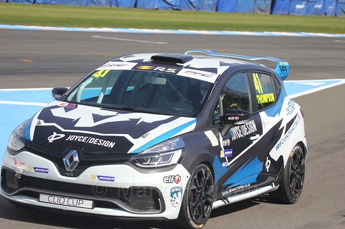 Aaron Thompson in the Clio Cup qualifying during the BTCC Weekend at Donington Park 2017: Saturday, 15th April