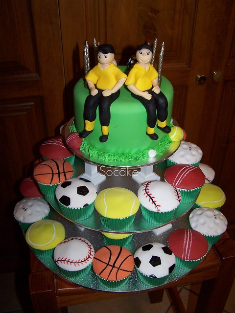 Sports cake for Josh and Connor