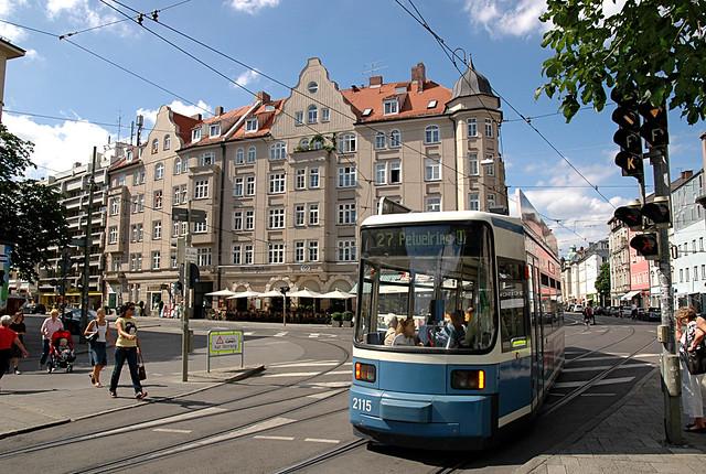 München Schwabing - Kurfürstenplatz - Tram 27
