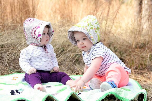 Two girls in bonnets