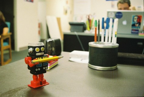 Working at my desk with my tabletop robot