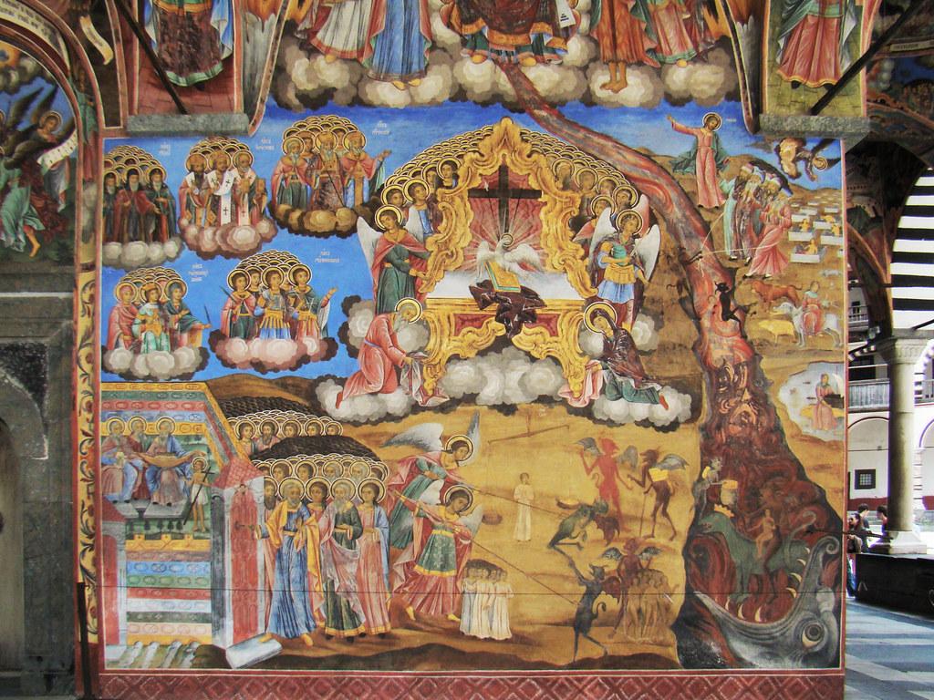 Monasterio de Rila pintura del atrio exterior de Iglesia Bulgaria Patrimonio de la Humanidad Unesco 39