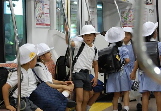 School Children in Japanese Subway