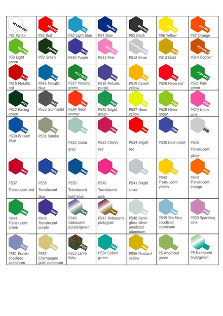 What Color Is Tamiya Acrylic Paint Color Chart Xf 16