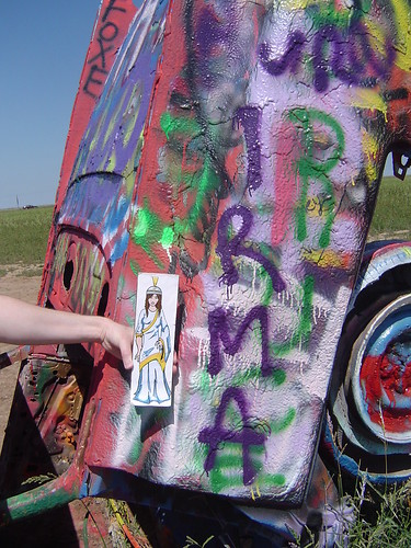 Up close with Irma at the Cadillac Ranch