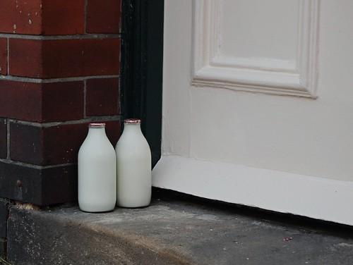 milk bottles on the doorstep