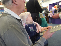 Sabrina and Grandad at Hornby Library
