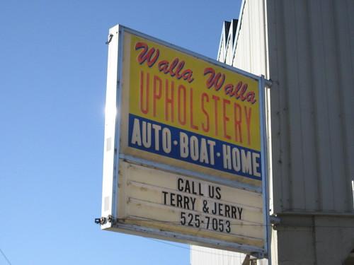 walla walla upholstery sign