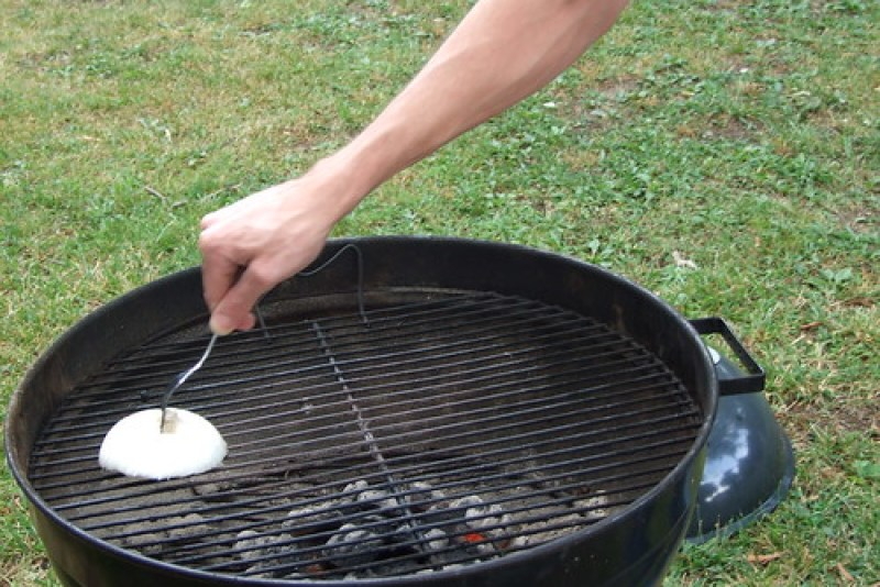 Matt cleaned the grill with an onion..