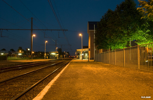 Empty train station by night