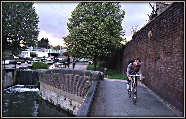 unknown cyclist at st pancras lock