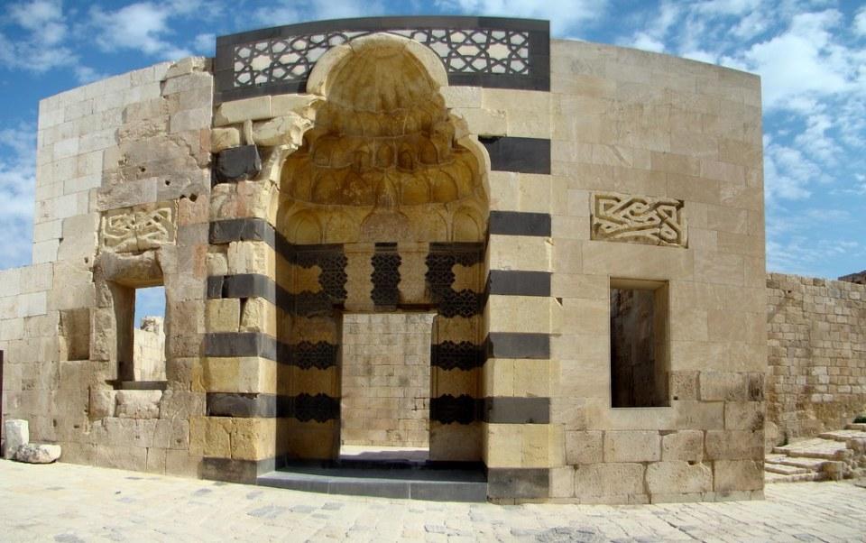 Siria entrada Palacio de Ayyubid Ciudadela de Alepo 48