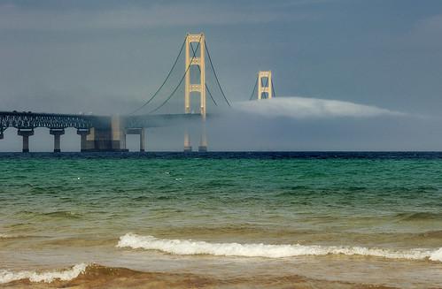 """""""Bridge to Nowhere"""" Foggy Mackinac Bridge - Mackinaw City , Michigan."""