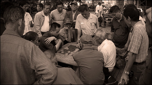 Elderly chinese men playing chess