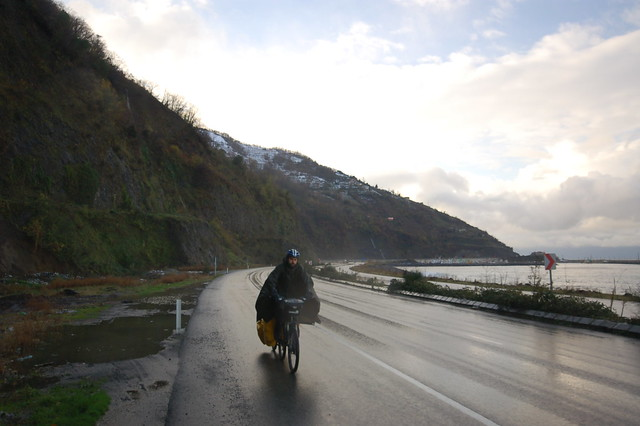 Andy riding the Black Sea coast of Turkey in the rain