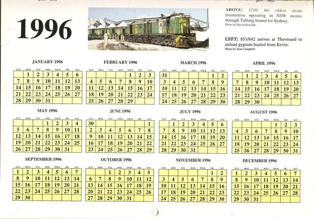 1996ATC0015Year Calendar Page 1996 Australian Trains