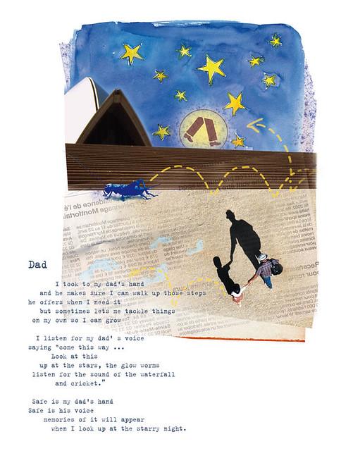 Dad's hand & Poem art by Paulien Bats words by June Perkins
