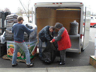 Volunteers loaded supplies for long term flood recovery
