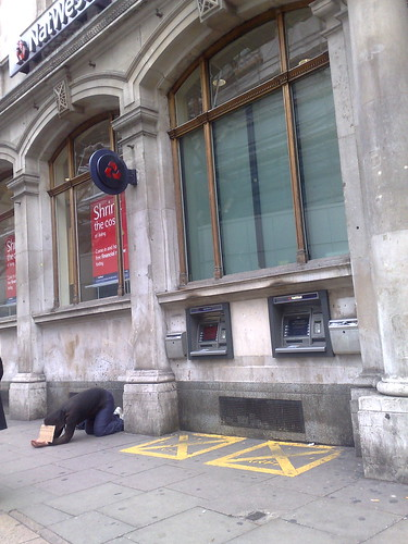 Begging in Holborn by Mark Hillary - Man begging outside a branch of Natwest
