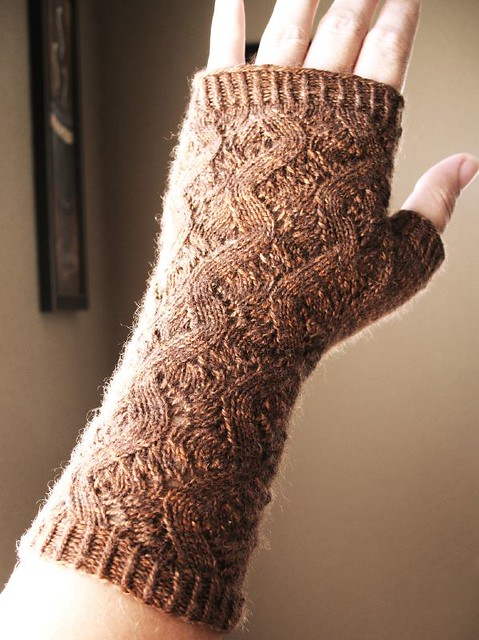 Finished! Hand Springs Fingerless Mitts for Mom