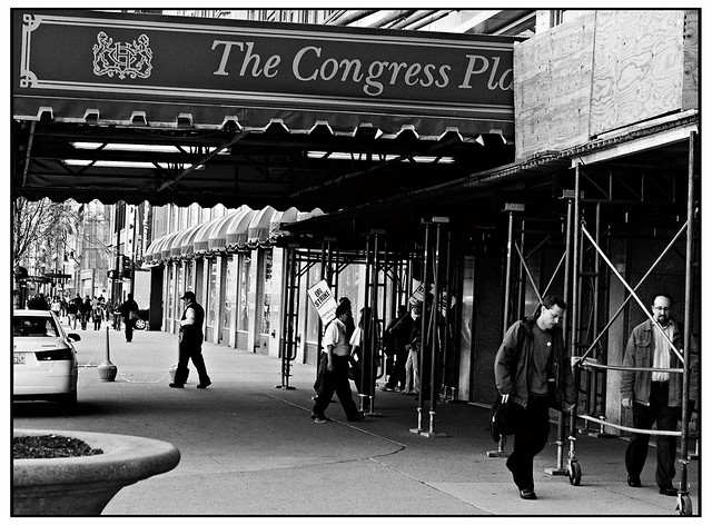 Strikers at the Congress Plaza Hotel