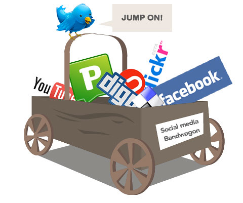 Social media titles in a wagon