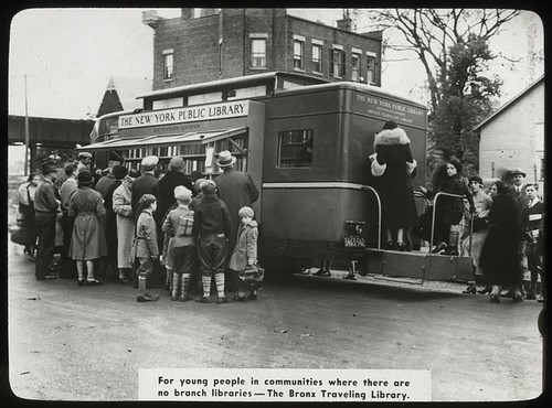 Work with schools, Bronx Traveling Library : people using bo...