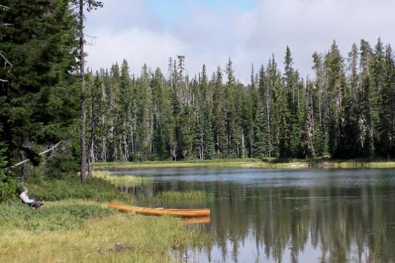 Man with Canoe at Clear Lake, Oregon