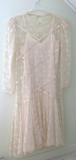 Beige slip with lace overdress