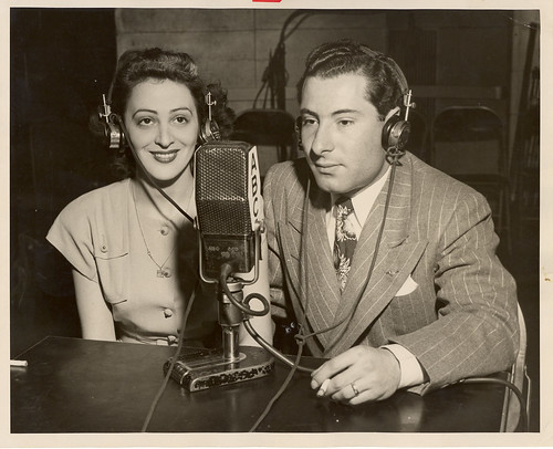 Jean Weil in ABC studio making international phone call