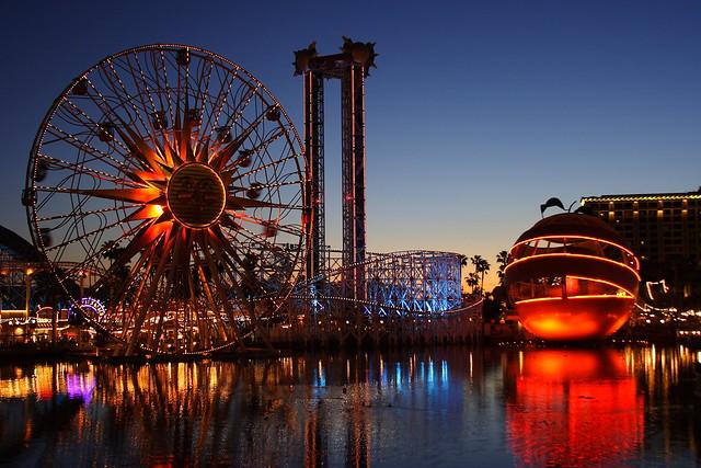 Paradise Pier at dusk
