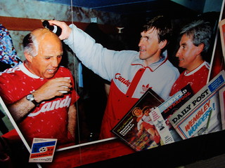 Liverpool FC legends Ronnie Whelan, Kenny Dalgleish and Roy Evans celebrate winning the 1990 First Division title