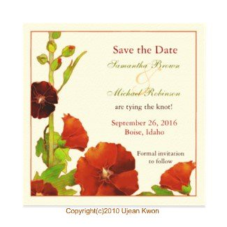 Hollyhocks Wedding Save-the-Date Invitations