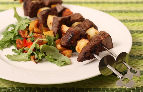 Beef Skewers with roasted potato and rocket salad