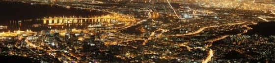 A spectacular view of night time Cape Town