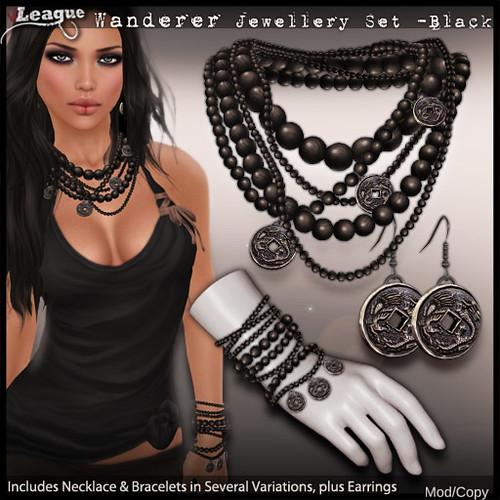 *League* Wanderer Jewellery Set -Black