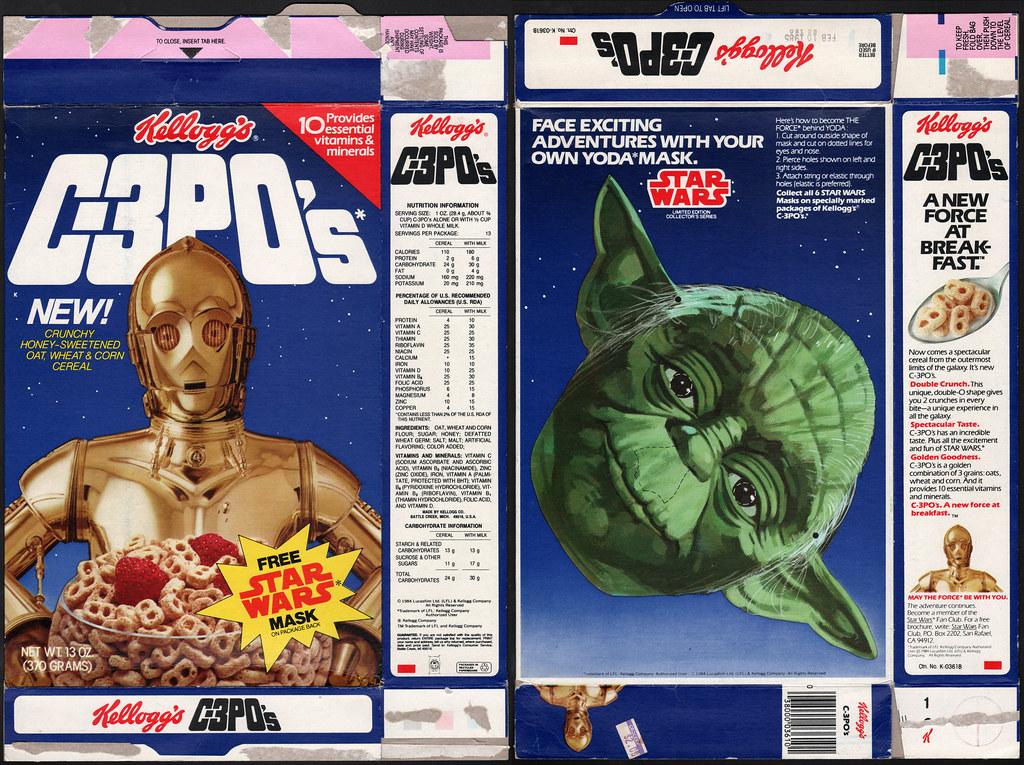 Kelloggs C-3PO's cereal box - Free Star Wars Mask - Yoda - 1984