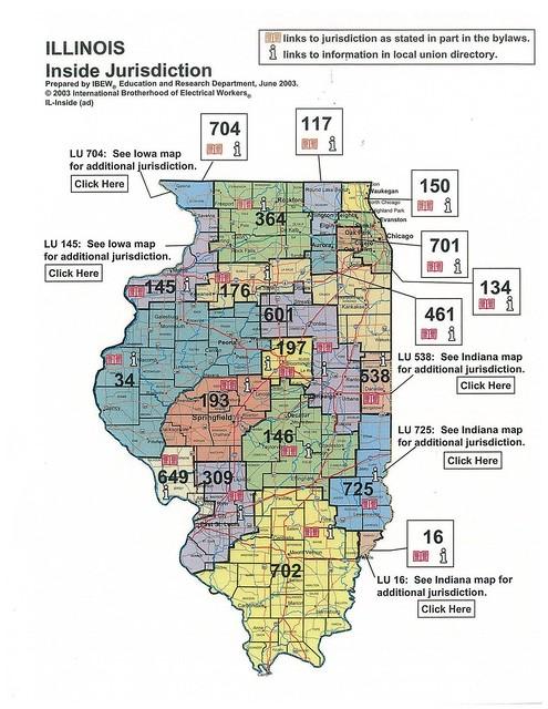 Ibew Illinois Map.Local Ibew Map Jurisdiction