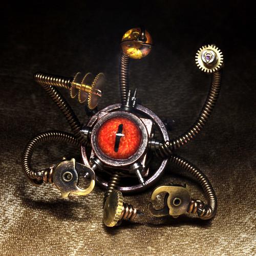 Steampunk Beholder Miniature Robot Sculpture by Daniel Proulx on Flickr via CC License.