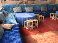 Inside a Moroccan tent