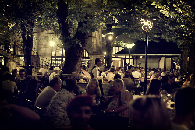 an evening in the biergarten