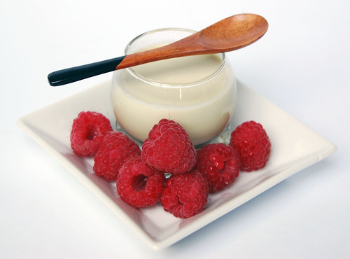 Matcha panna cotta with raspberries