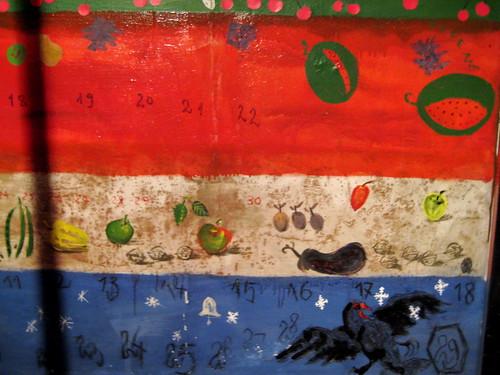 Calendario pintado en un muro