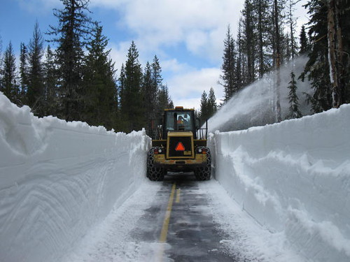 Removing snow on McKenzie Pass