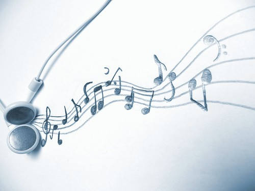 Music - an art for itself - Headphones and music notes / musical notation system