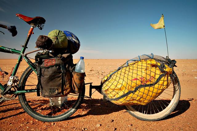 My bike's rear end in the Sudanese desert