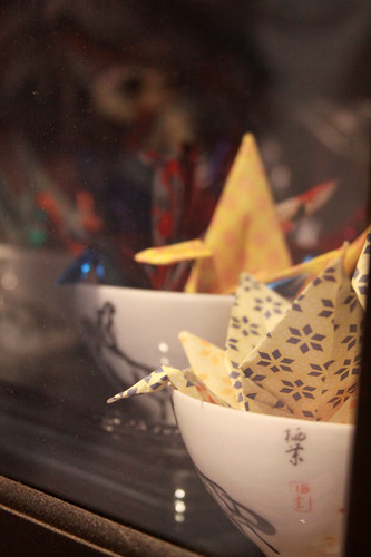 Paper Cranes in my China Cabinet